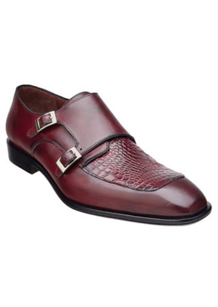 Mens Burgundy Alligator Skin
