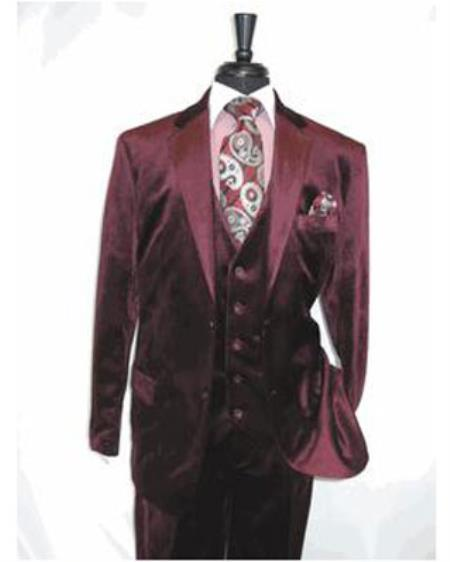 Burgundy 2 Button Velvet