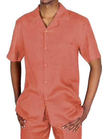 Peach Linen Short Sleeve
