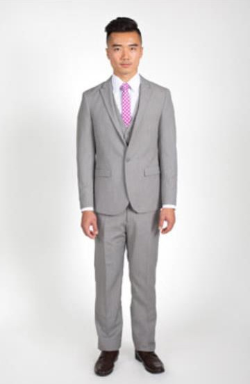 2 Button Heathered Grey