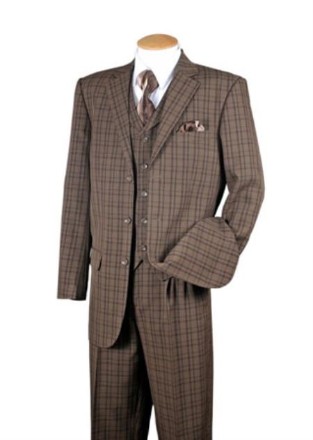 Brown 3 Piece Plaid