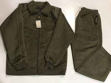 Mens Fashion Olive Suede Feel Solid Long Sleeve Track Set Jogging Jacket With Pant