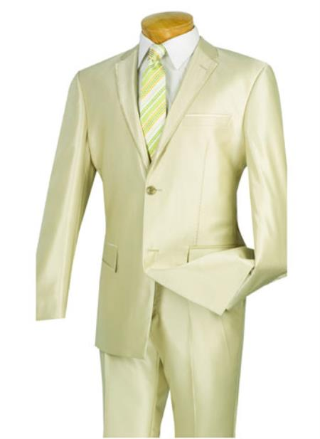 champagne beige~ivory~creamish 2 piece two buttons with contrast trim, side vents, flat front pants, shark skin shiny suit (tuxe