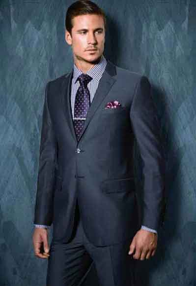 Buy SM2569 Tiglio Men's Blue Grey Single Breasted Notch Lapel Modern Fit 2 Button Wool Side Vent Suit