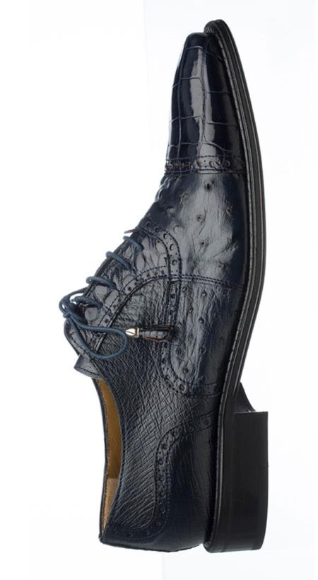 Ferrini Mens Navy Leather Sole World Best Alligator ~ Gator Skin & Ostrich Quill Cap Toe Tasseled Laces Shoes