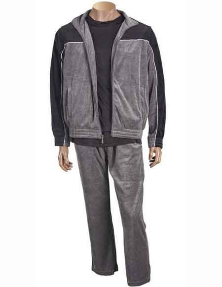 Mens Gray Front Zipper