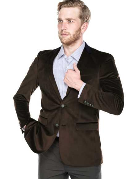renoi men's solid brown 2 button notch collar and metal buttons velvet classic fit blazer