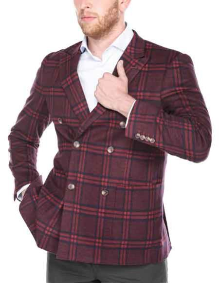 Mens Red/Blue Plaid Peak