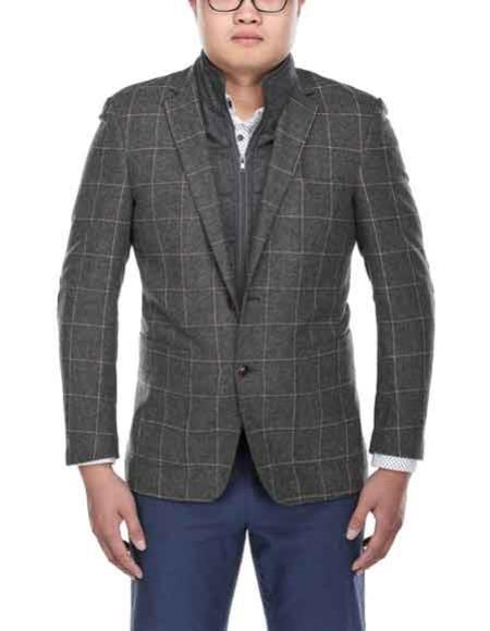 Mens Windowpane Pattern Wool