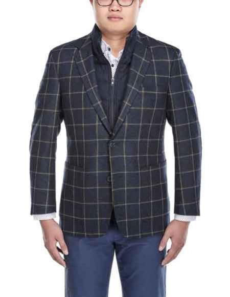 renoi men's windowpane wool navy and white 2 button blazer with scarf & zip-up bib