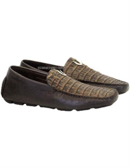men's sanded brown vestigium genuine caiman belly loafers