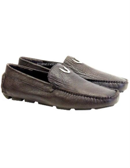 men's brown vestigium genuine sharkskin loafers full leather lining