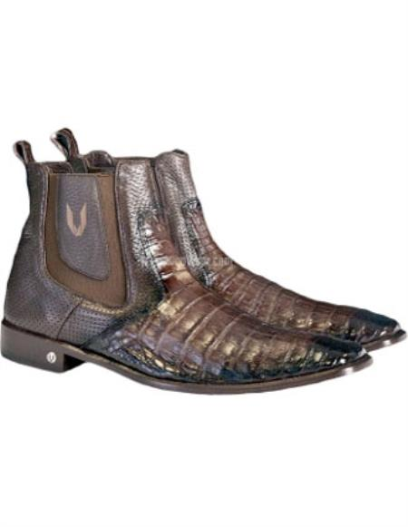 Buy SS-5948 Men's Faded Brown Vestigium Genuine Caiman Belly Chelsea Boots Handcrafted