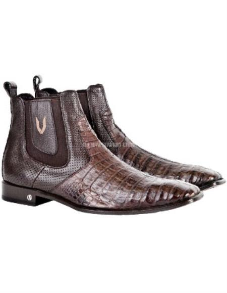 Buy SS-1155 Men's Brown Vestigium Genuine Caiman Belly Chelsea Boots