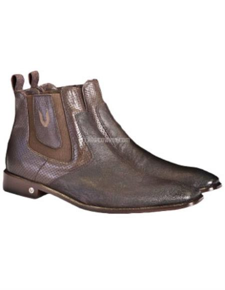 Buy SS-5962 Men's Faded Brown Vestigium Genuine Catshark Chelsea Boots