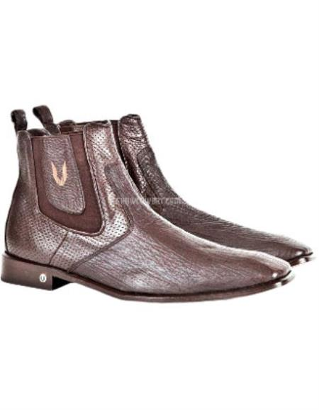 Buy SS-1147 Men's Brown Vestigium Genuine Sharkskin Chelsea Boots