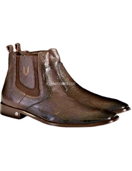 Buy SS-5915 Men's Faded Brown Vestigium Genuine Sharkskin Chelsea Boots Handcrafted