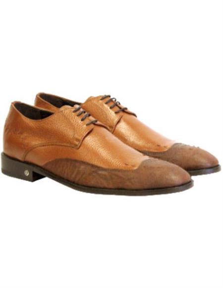 Vestigium Genuine Mens Cognac Catshark Derby Shoes