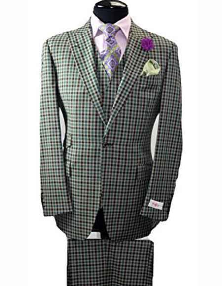 Mens Checked Peak Lapel