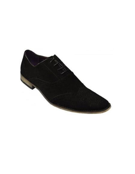 Zota Brand Black Genuine Suede Leather Perforation Shoes