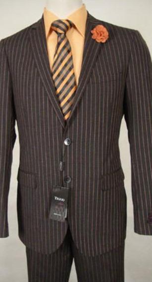 Slim Fit Brown Stripe