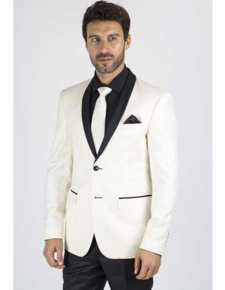 SKU#SM2661 Mens Two Buttons Ivory ~ Cream ~ Off White And Black Lapel Dinner Jacket Blazer Wool Slim Fit