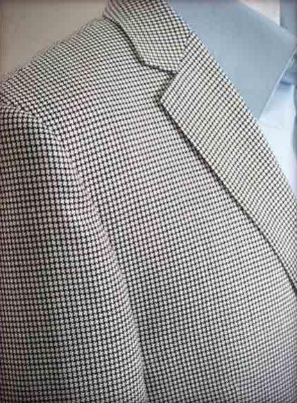Moda Mens Long Black & White 2 Button houndstooth checkered Silk/Wool Modern Fit Jacket