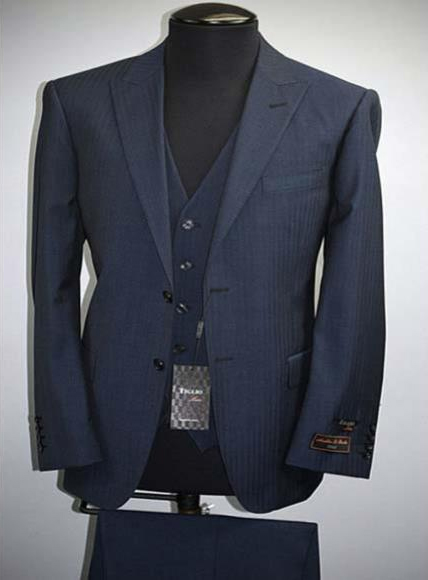 Buy SM2702 Tiglio Luxe Tufo Men's Modern Fit Blue 2 Button Wool Pinstripe Peak Lapel Vest Suit