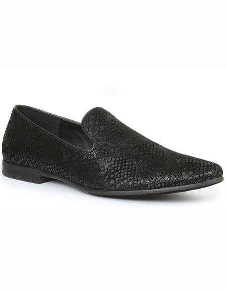 men's black snake print evening loafers slip on tuxedo formal looking