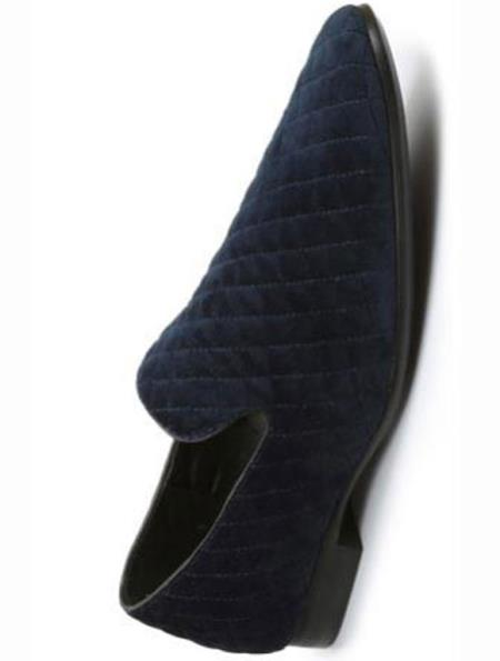 SKU#SM2726 Mens Quilt Style Velvet Evening Slip On Tuxedo Formal Looking Navy Loafers