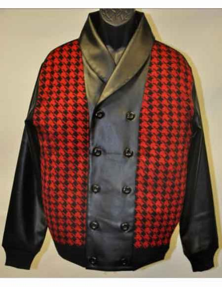 Double Breasted Leather Houndstooth