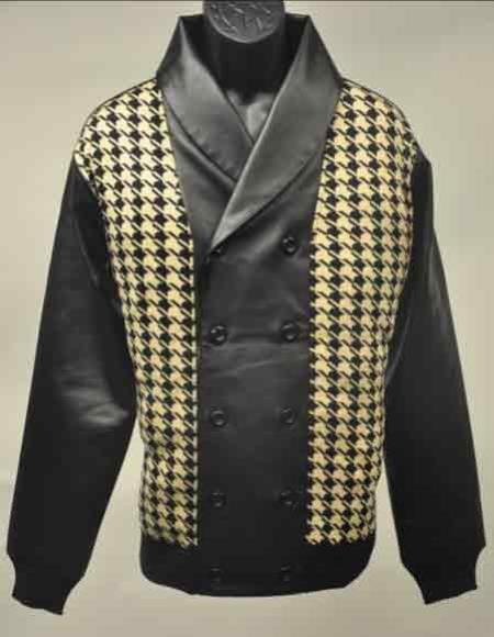 Black/Cream Leather Houndstooth Design