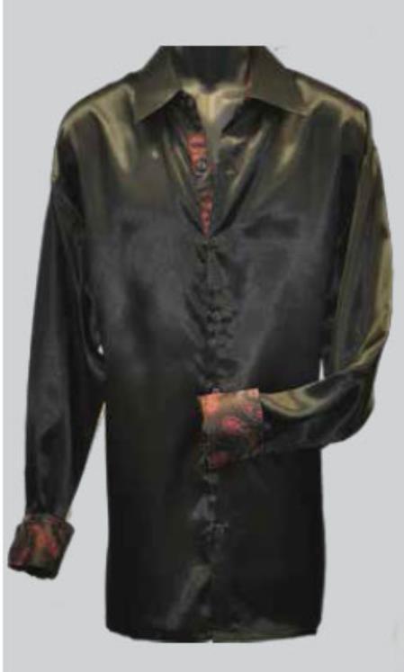 Black 100% Satin Shirt