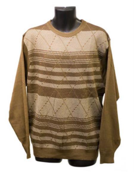 Tan Crew Neck Sweaters