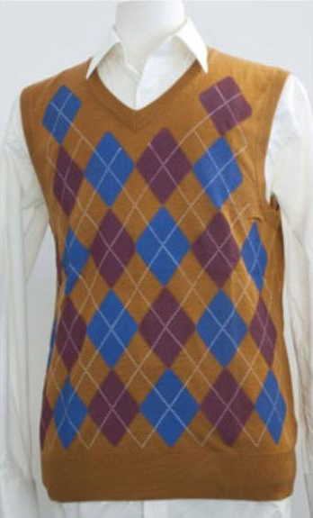 1930s Men's Clothing Mens Light Weight Sweater Vest Argyle Design Caramel $39.00 AT vintagedancer.com