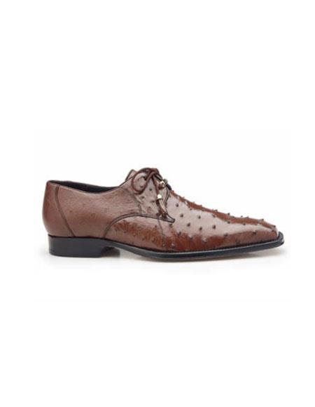 Isola Authentic Belvedere Exotic Skin Brand Genuine Brown Ostrich Leather Lining Plain to
