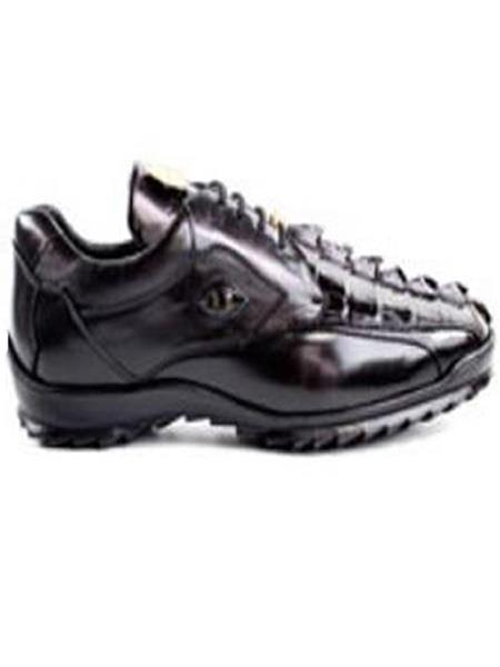 Authentic Belvedere Exotic Skin Brand Genuine Black Hornback Crocodile and Soft Calf Leather Lining Shoe