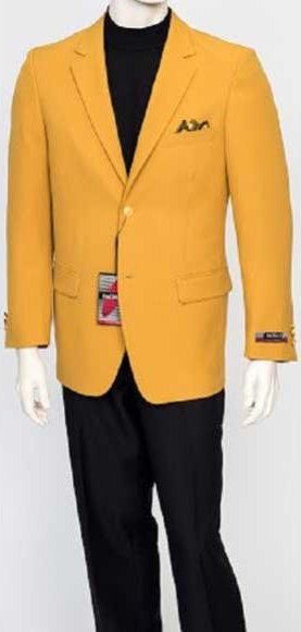 Mens Single Breasted Classic Fit Mustard Gold 2 Button Jacket