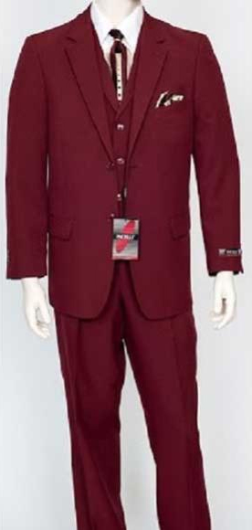 Mens Classic Fit Single Breasted Burgundy ~ Wine ~ Maroon Color 3 Piece Notch Lapel Vested Dress Suit