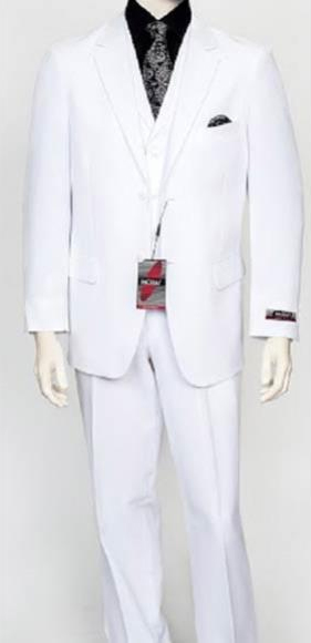 Mens White 3 Piece Poly Poplin Fabric Matching Vest Dress Suit Wth Pleated Pant