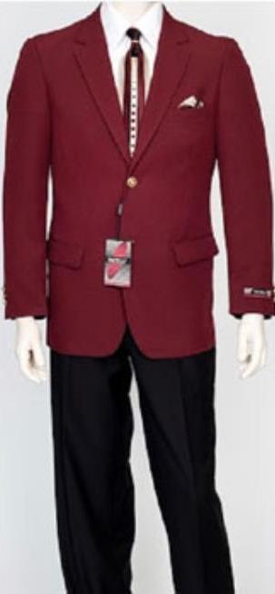 Pacelli Mens Classic Burgundy ~ Wine ~ Maroon Color Blazer Jacket Blair