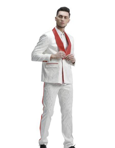 Mens 1 Button White Tuxedo with a Red Shawl Lapel Dinner Jacket Cheap Priced Blazer Jacket For Men Sportcoat + Free White or Black or Red Pants