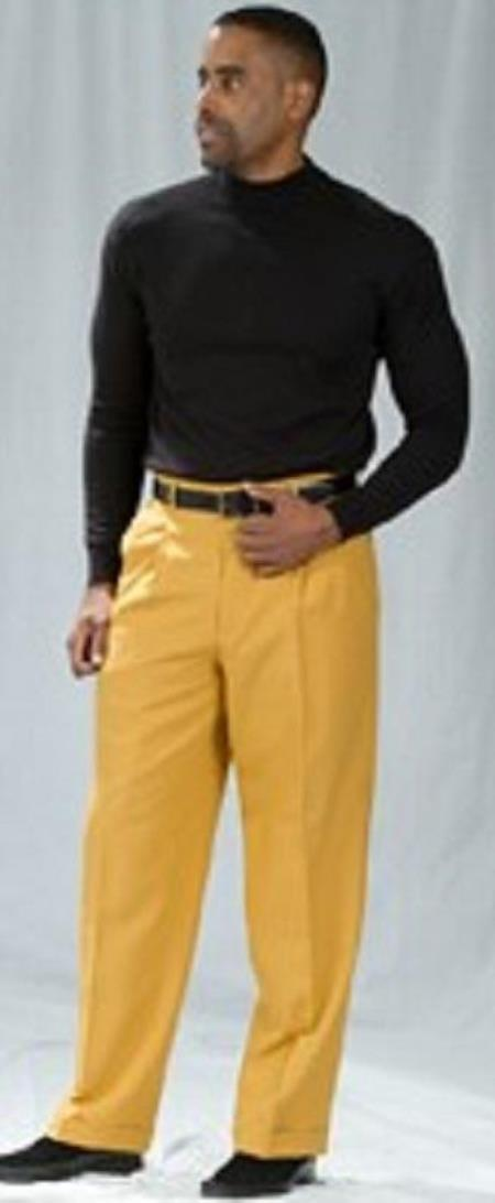 Mustard Pleated Baggy Fit