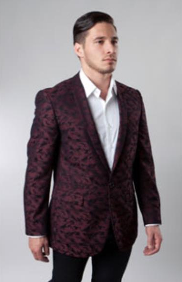 Button Burgundy Single Breasted