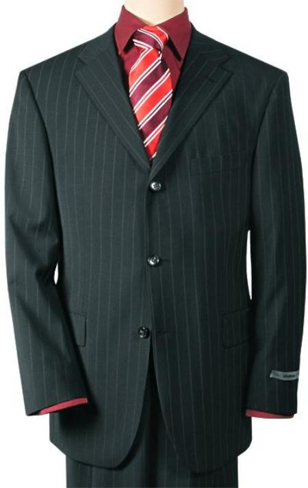 SKU# YL7722 Mens 3 Buttons Conservative Black Pinstripe Super 140 Wool $225 Compare at