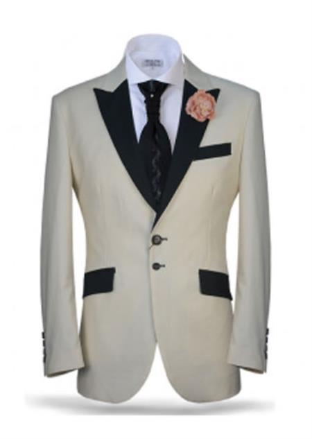 SKU#SS-YP-05 Mens Ivory Two Toned Black Peak Lapel Cream Off White Tuxedo Jacket & Pants (Suit)