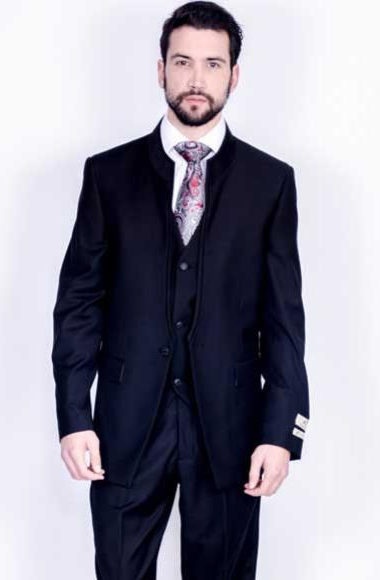Buy SM2884 Mens Single Button Style 100% Wool Vested 3 Piece Mandarin Banded Collar Suit Black
