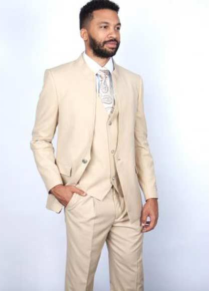 Buy SM2886 Mens Beige Single Button Style 3 Piece Mandarin Banded Collar 100% Wool Vested Suit