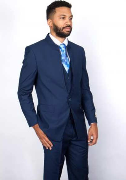 Buy SM2880 Mens 3 Piece Mandarin Banded Collar Navy Blue Single Button Style 100% Wool Vested Suit
