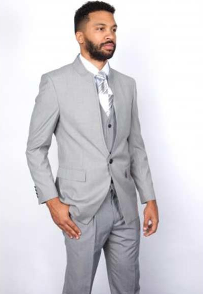 Buy SM2888 Mens Mandarin Banded Collar 3 Piece Single Button Style 100% Wool Vested Gray Suit